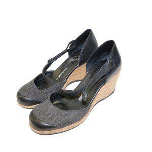 Teva Riviera Black Cork Wedge Closed Toe Sandals